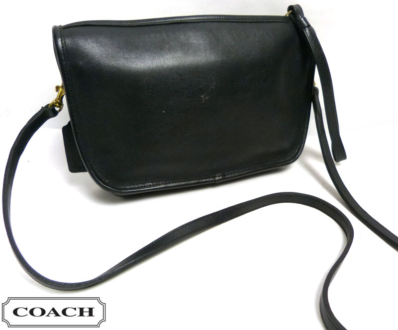 OLD COACH オールドコーチ 本革レザー ショルダーバッグ USA製 (黒/ブラック)【中古】