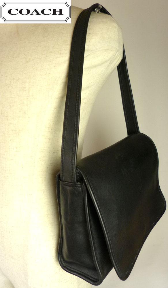 USA製 OLD COACH オールドコーチ本革レザー フラップショルダーバッグ (黒/ブラック)【中古】