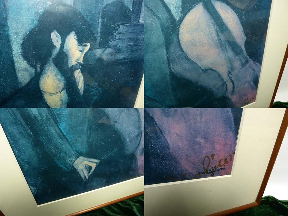 複製名画 モジリアニ 「The Cellist. 1909」人物画 (アメデオ・モディリアーニ )ポスター版上サイン 額装【中古】