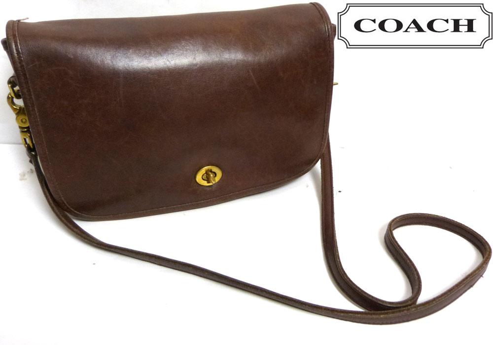 USA製 OLD COACH オールドコーチ本革レザー ショルダーバッグ (濃茶/ブラウン)【中古】