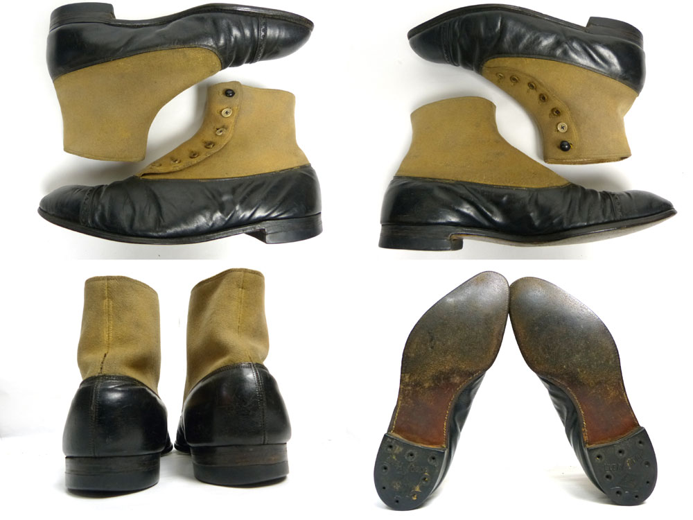 【激レア】1910〜20s JOHNSTON & MURPHY ジョンストン&マーフィー 2トーン ボタンブーツ 39(27cm) ( メンズ )ビンテージ/アンティーク【中古】【送料無料】