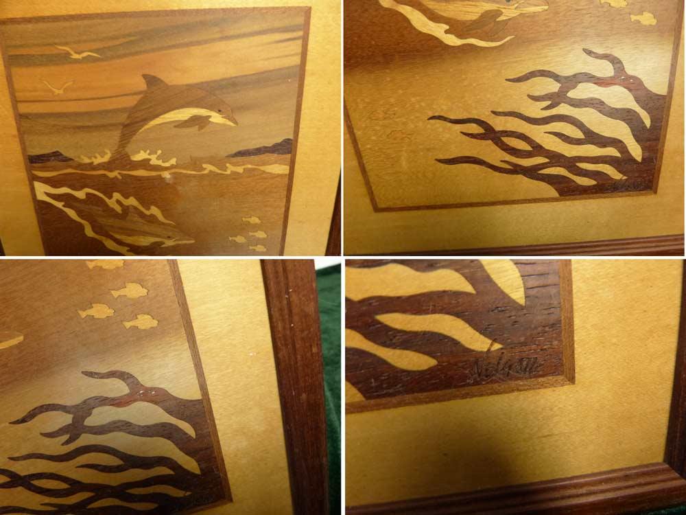 木製 壁掛け イルカ / ドルフィン HUDSON RIVER INLAY NELSON  オブジェ【中古】