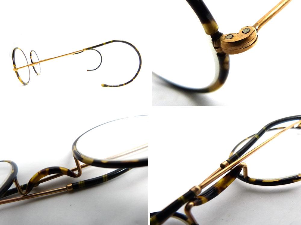 【希少】1920 -40s べっこう/鼈甲 巻きつるテンプルメ丸メガネ / 丸眼鏡(取付用メガネ付きセット)【中古】【送料無料】