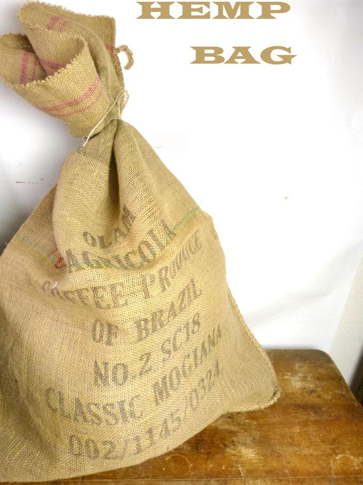 ブラジル産コーヒー豆 麻袋 ヘンプバッグ / 収納袋 / インテリア / リメイク用 / ドンゴロス(99×69cm)【中古】