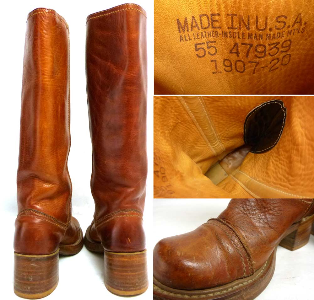 USA製 1970s 本革レザーブーツ 表記無し(22.5cm相当)(レディース)【中古】