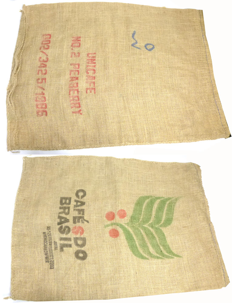 ブラジル産コーヒー豆 麻袋 ヘンプバッグ / 収納袋 / インテリア / リメイク用 / ドンゴロス(101×69cm)【中古】