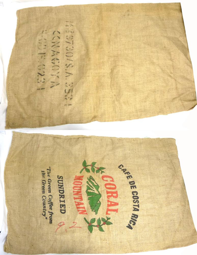 コスタリカ産コーヒー豆 麻袋 ヘンプバッグ / 収納袋 / インテリア / リメイク用 / ドンゴロス(104×69cm)【中古】