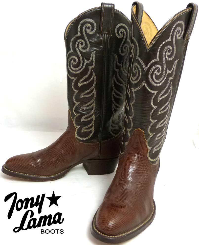 1970s USA製 Tony Lama トニーラマ ヘビ革 ウエスタンブーツ 6 1/2B(23-23.5cm相当)(黒タグ) (レディース)【中古】