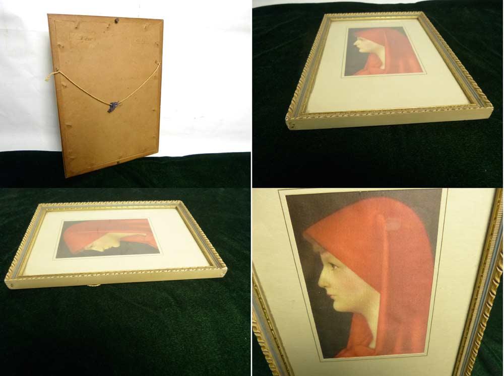 1950−60年代頃 J. J. HENNER  聖ファビオラ FABIOLA 布絵 額装/ 木製額縁【中古】