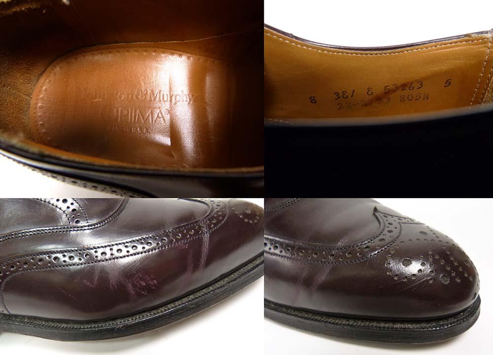 USA製 ジョンストンアンドマーフィー JOHNSTON & MURPHY  OPTIMA ウイングチップシューズ 8 3E/E(26-26.5cm相当)(メンズ)【中古】