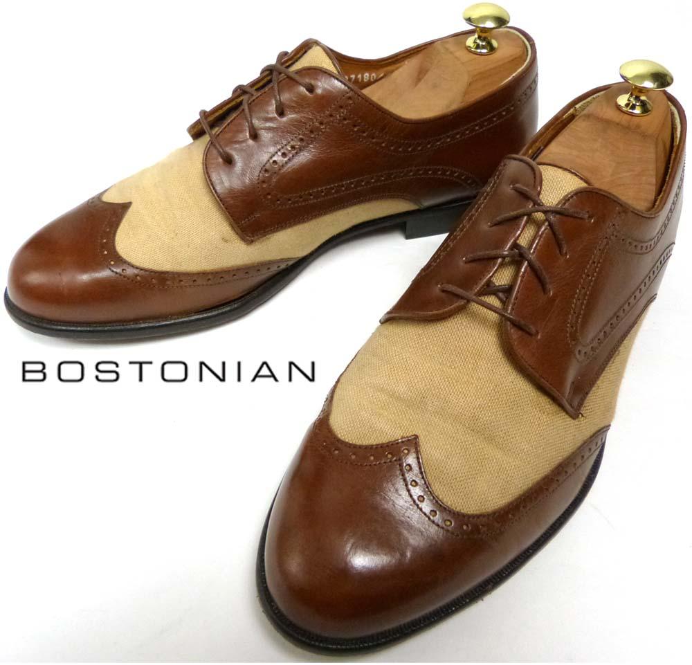 イタリア製 ボストニアン BOSTONIAN FLORENTINE 2トーン ウイングチップシューズ 8 1/2W(27cm相当)(メンズ )【中古】【送料無料】