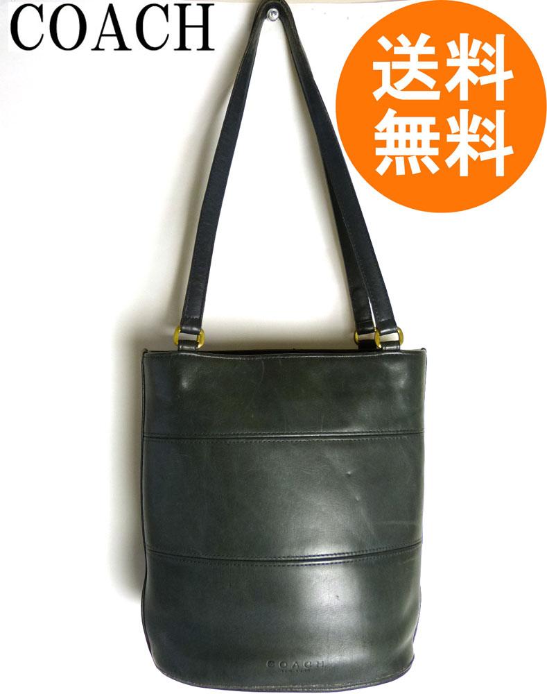 オールドコーチ 本革レザー トートバッグ OLD COACH (黒/ブラック)【中古】