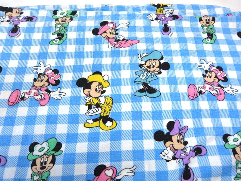 ディズニー ミニーマウス キャラクター ビンテージ フラットシーツ(228×168cm)【中古】【リメイク生地】