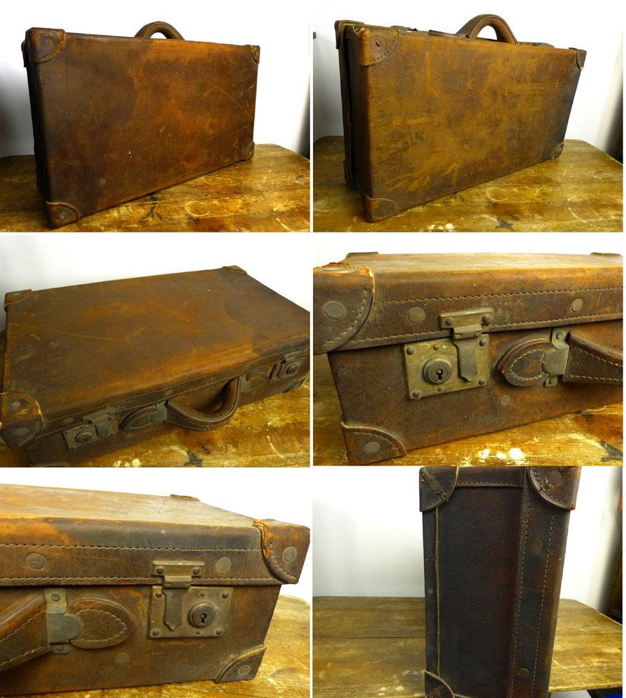 【訳あり】アンティーク レザー トランク オールド スーツケース (茶 / ブラウン)/ バッグ /収納 【中古】