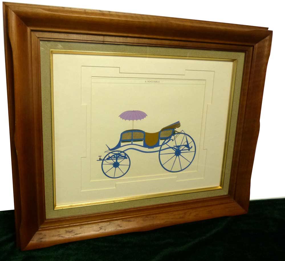1794年製 Feltons Carriages A Sociable 印刷物 / ポスター 木製 額装(油彩額縁F6/6号)(チーク材)【中古】【送料無料】