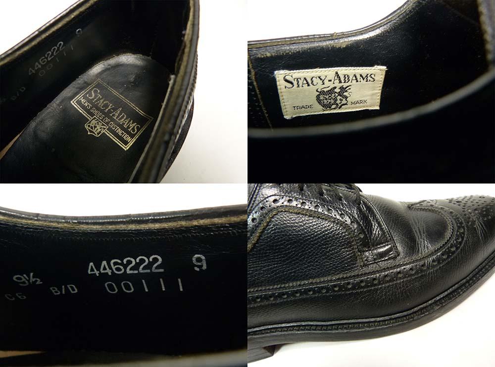 1970s ステイシーアダムス STACY ADAMS シボ革ウイングチップシューズ 9 1/2D/B(27cm相当)(メンズ)【中古】