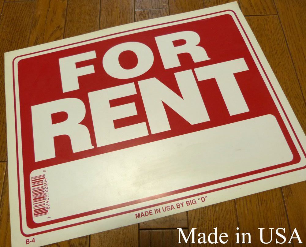 USA直輸入USA製 サインプレート / 看板 「FOR RENT」(Made in USA )【中古】