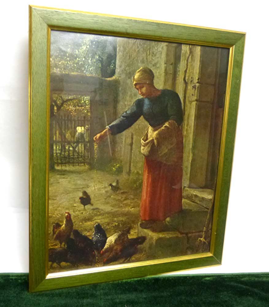 ミレー / 「鶏に餌を与える女」 ポスター / 印刷物 額装【中古】
