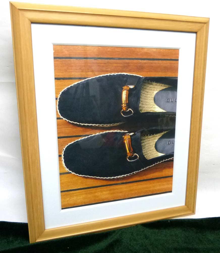 木製額縁 フレーム グッチ(GUCCI )の靴の広告/ポスター / 額装【中古】