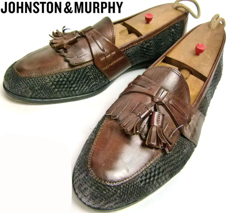 ジョンストン&マーフィー JOHNSTON & MURPHY CELLINI 2トーン タッセルローファー 9 1/2M(27.5cm相当) 【中古】