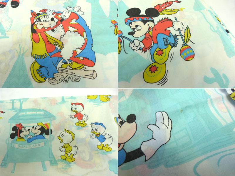 ディズニー ミッキーマウス キャラクター ビンテージ フラットシーツ【中古】【リメイク生地】