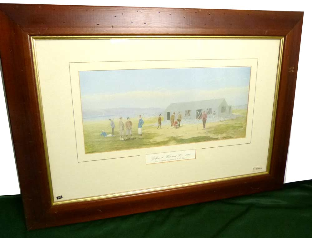 Golfer at Weekend Ho 1880 by F. P. Hopkins /FPホプキンス 木製 額装 ビンテージ【中古】【送料無料】