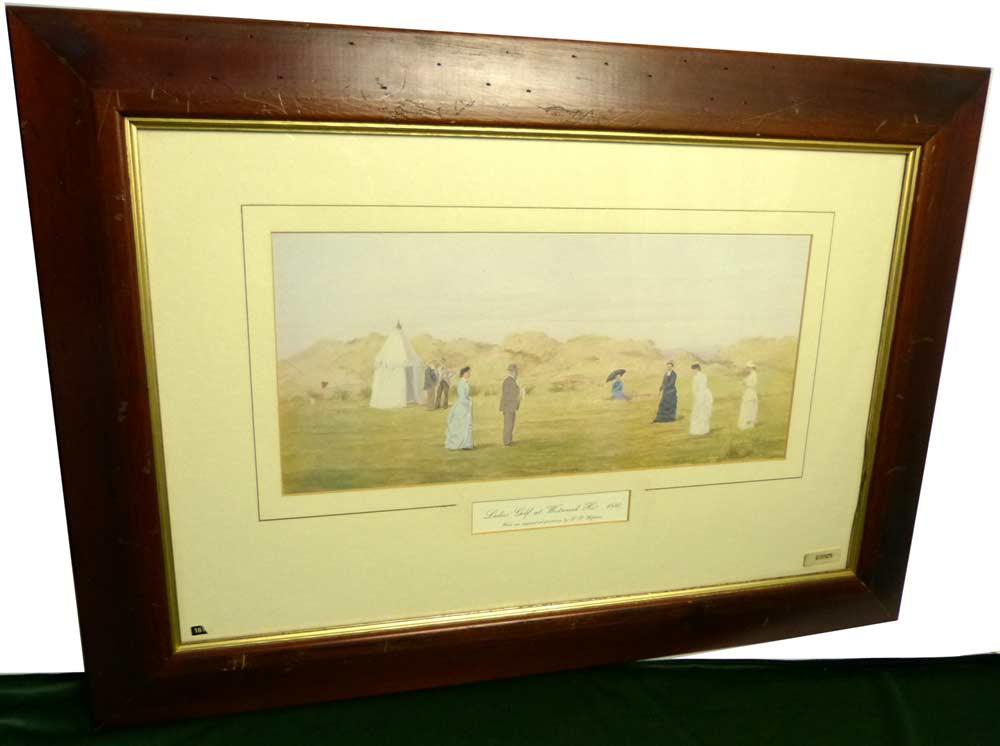 Ladies Golfer at Weekend Ho 1880 by F. P. Hopkins /FPホプキンス 木製 額装 ビンテージ【中古】【送料無料】