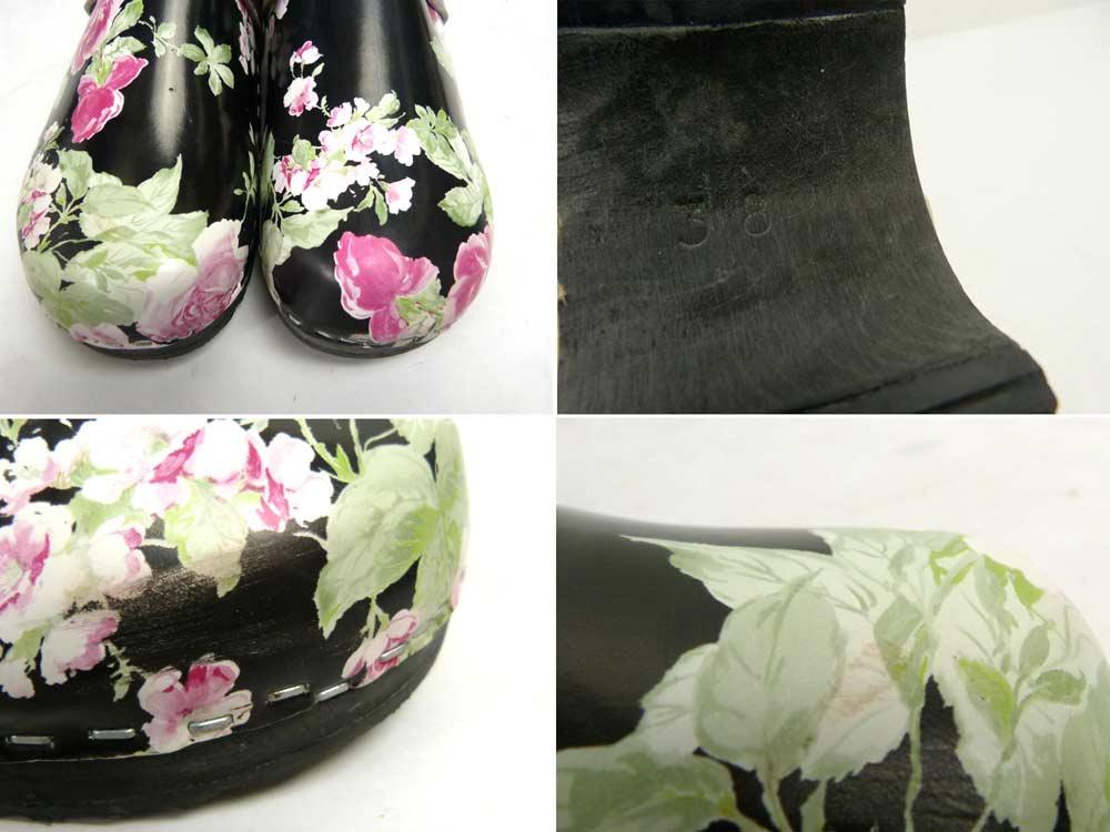 スウェーデン製 TORATOFFELN 花柄 木製サボ / サンダル ビンテージ 38(24cm相当)(レディース)【中古】