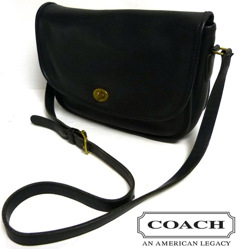 OLD COACH オールドコーチ 本革レザー ショルダーバッグ USA製  (黒/ブラック)【中古】【送料無料】