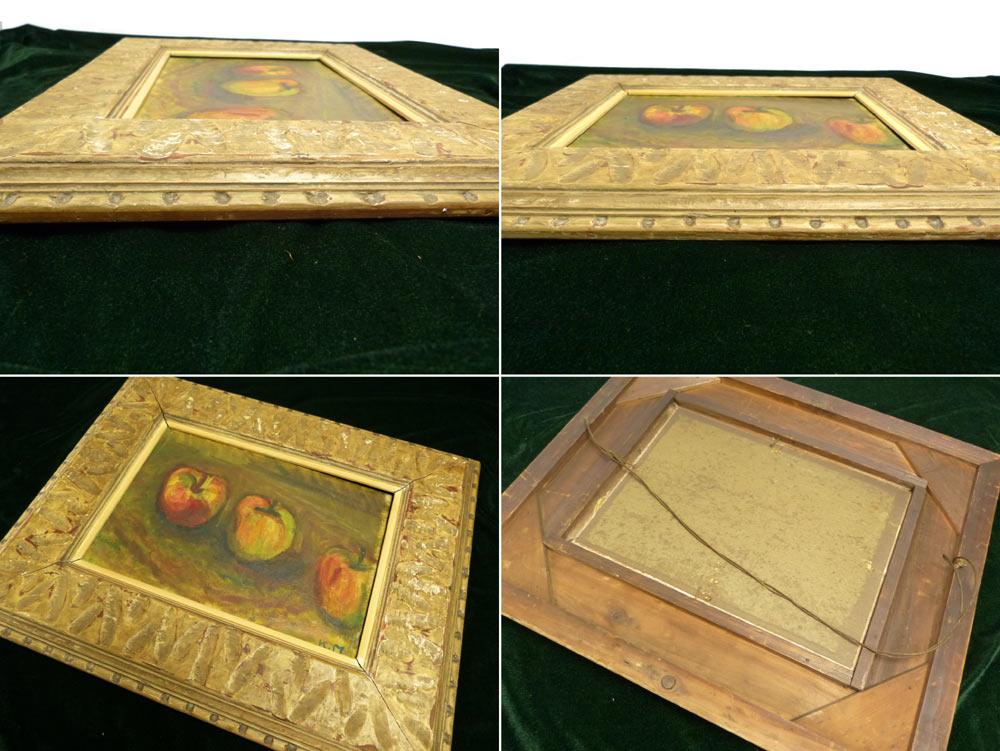 レトロ ヴィンテージ オールド シャビーな額縁 木製フレーム 「リンゴ」油絵4号(アート)【中古】
