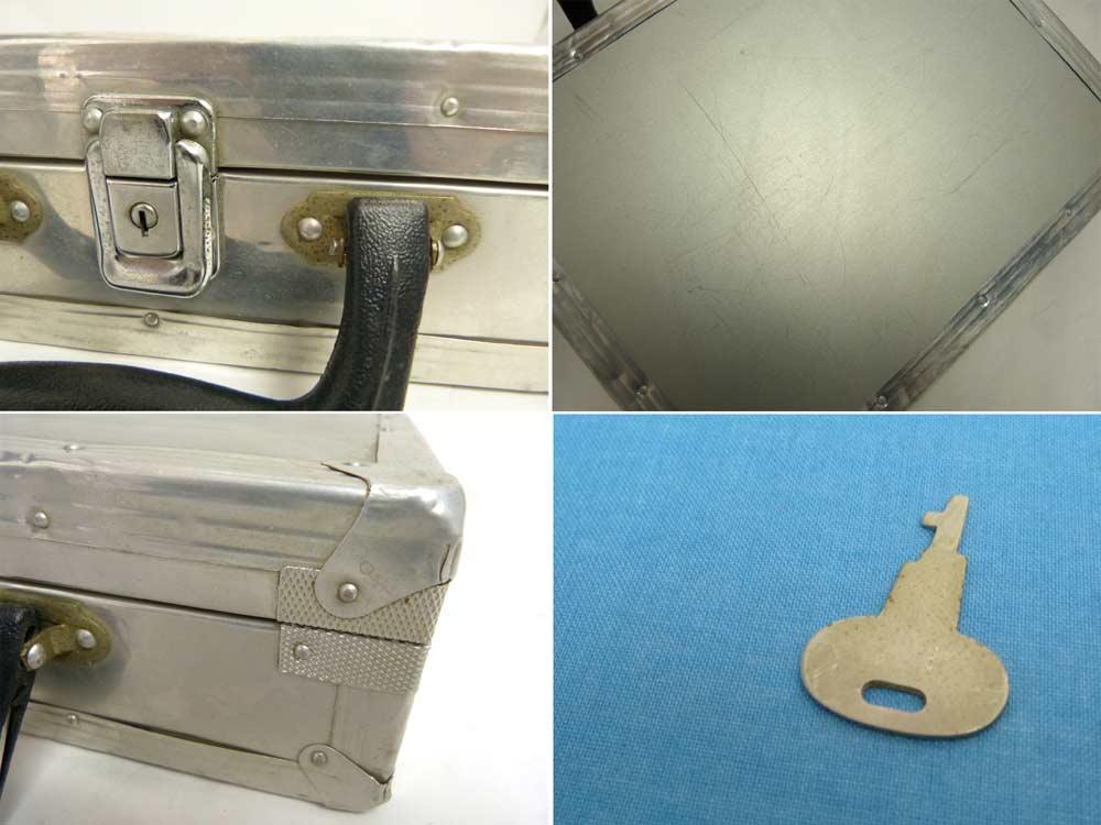 古いアルミ ミニ トランク ケース 鍵付 ビンテージ 【中古】