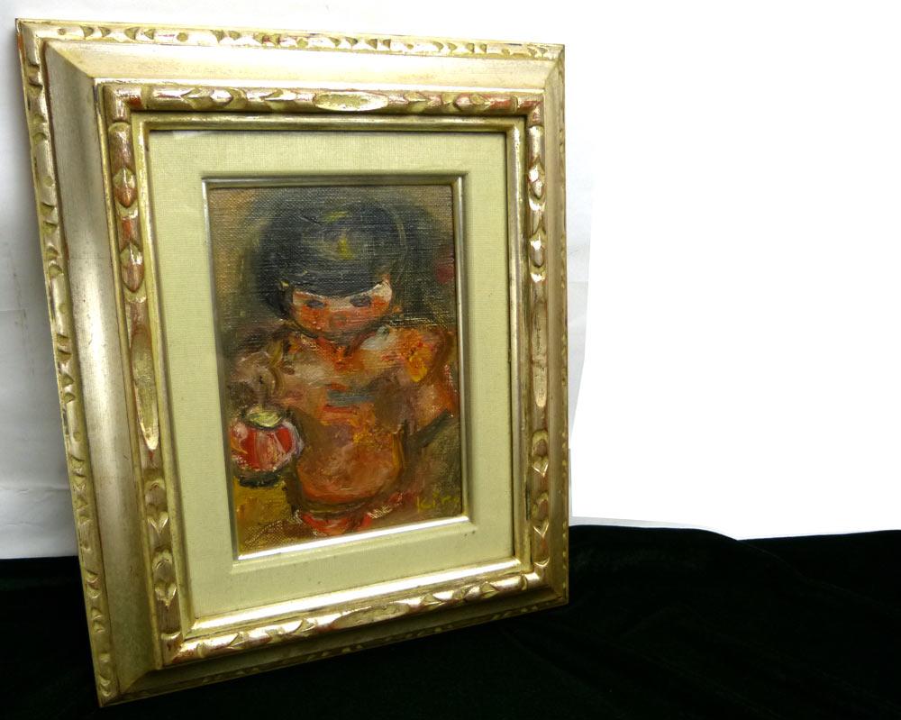 1976年作 三井きみ子/ちょうちん/人物画/ガラス板/油絵 アート【中古】