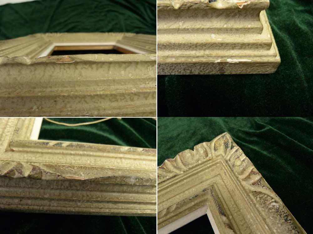 レトロ ヴィンテージ オールド シャビーな額縁 木製フレーム 油絵3号 / F3 (インテリア用品)【中古】