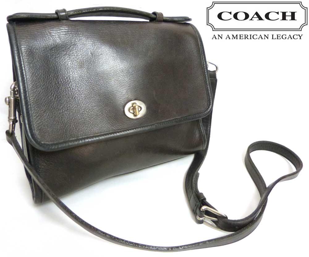 オールドコーチ OLD COACH コーチ ターンロック 本革 ショルダーバッグ (黒)【中古】【送料無料】