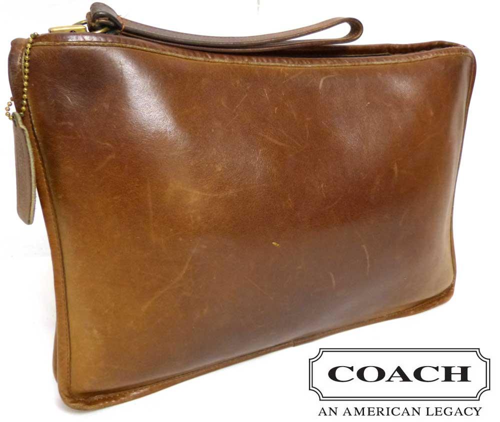 1960s New York製 オールドコーチ OLD COACH クラッチバッグ / レザーバッグ (茶)(TALONジップ)【中古】【送料無料】