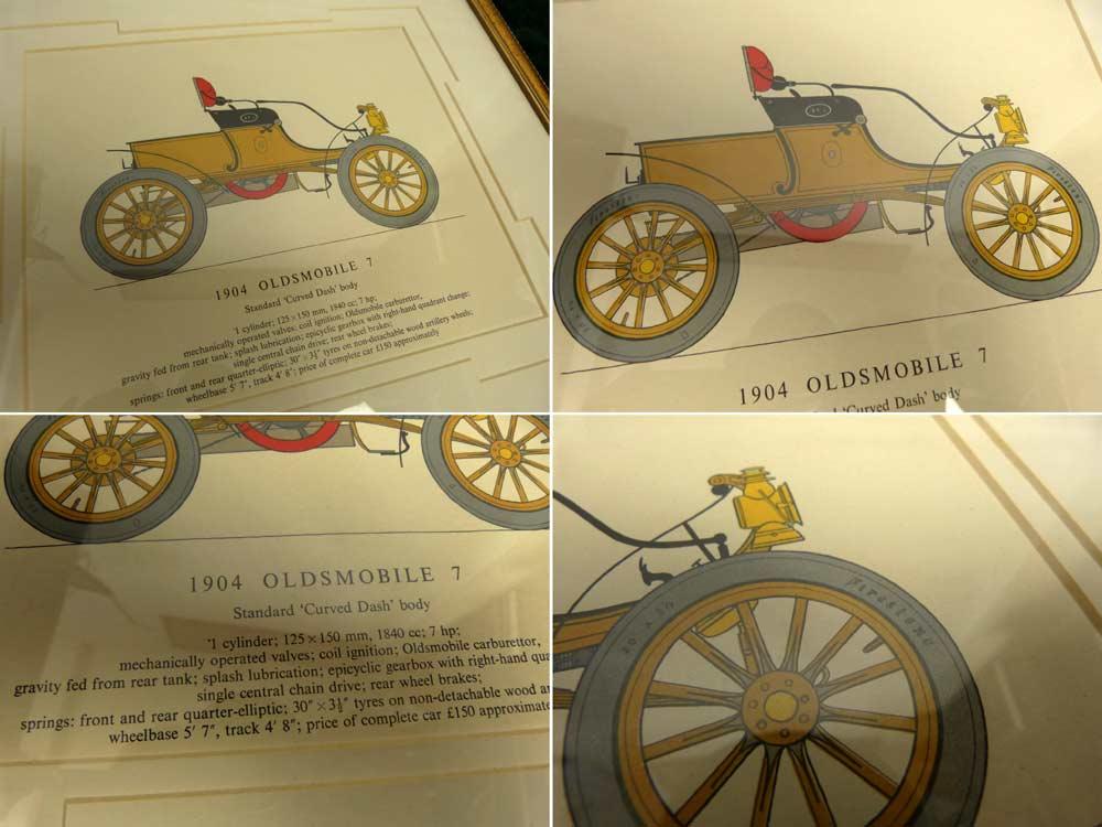 1904年型 オールズモビル  / OLDSMOBILE 7 印刷物 / ポスター 木製 額装【中古】