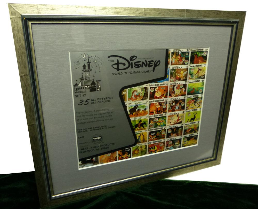 木製額 Disney world of postage stamps ディズニー 切手 額装【中古】