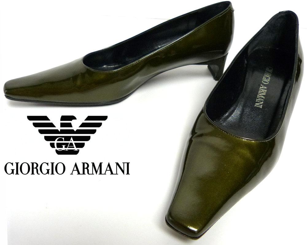 GIORGIO ARMANI ジョルジオ アルマーニ エナメルパンプス / ヒール 35(22.5cm相当)(レディース)【中古】