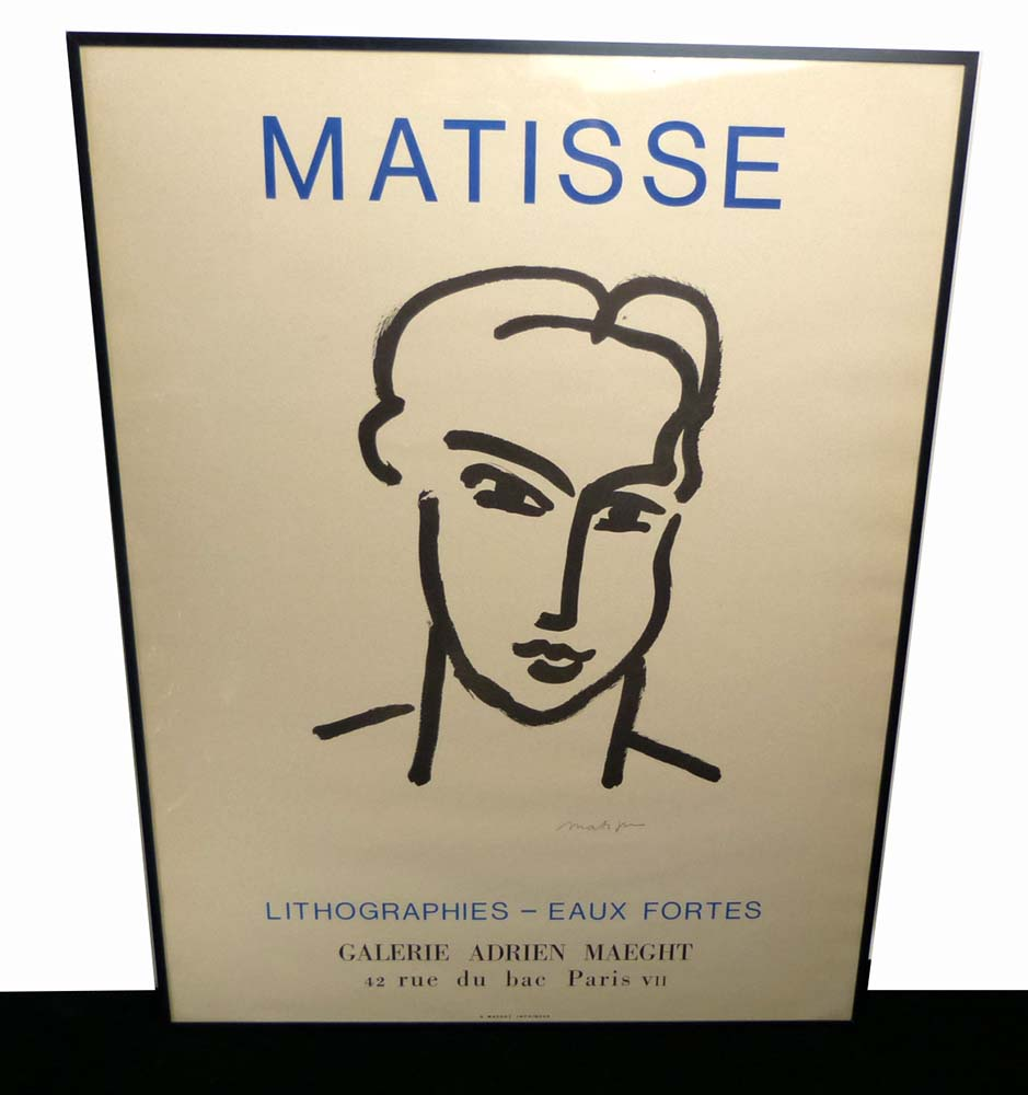 1964年 アンリ・マティス(大きな顔のカティア)「MatisseLithographies-EauxFortes」展リトグラフ刷ポスター(ヴィンテージ)【中古】【送料無料】