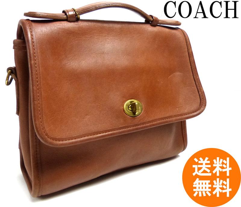 【訳あり】オールドコーチ OLD COACH フラップ付きハンドバッグ (茶)【中古】