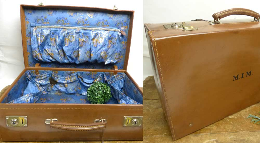 1940s ヴィンテージ M.I.M レザートランク / オールド スーツケース (茶)(鍵付き) 【中古】