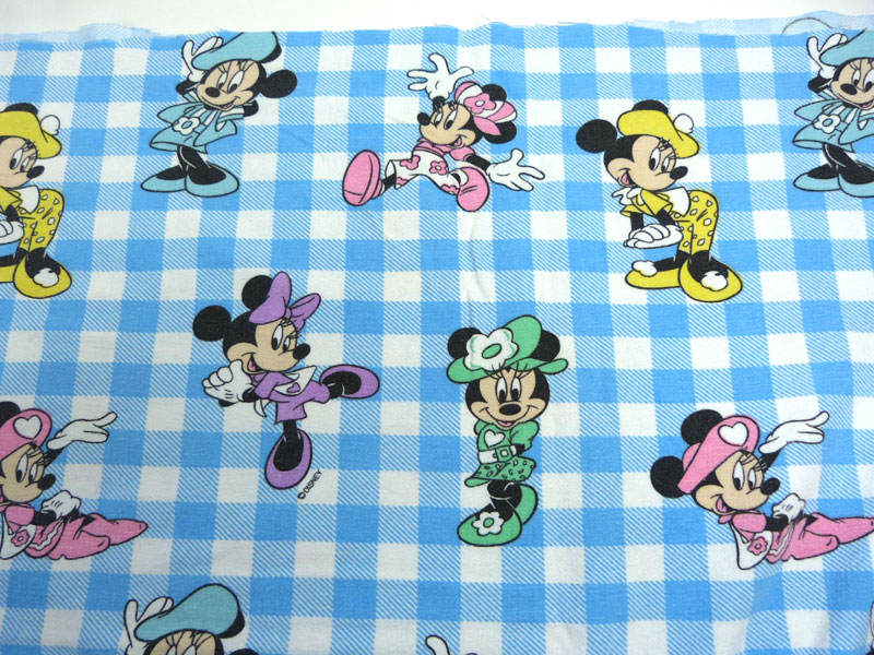 ディズニー ミニーマウス キャラクター ビンテージ フラットシーツ(179×90cm)【中古】【リメイク生地】