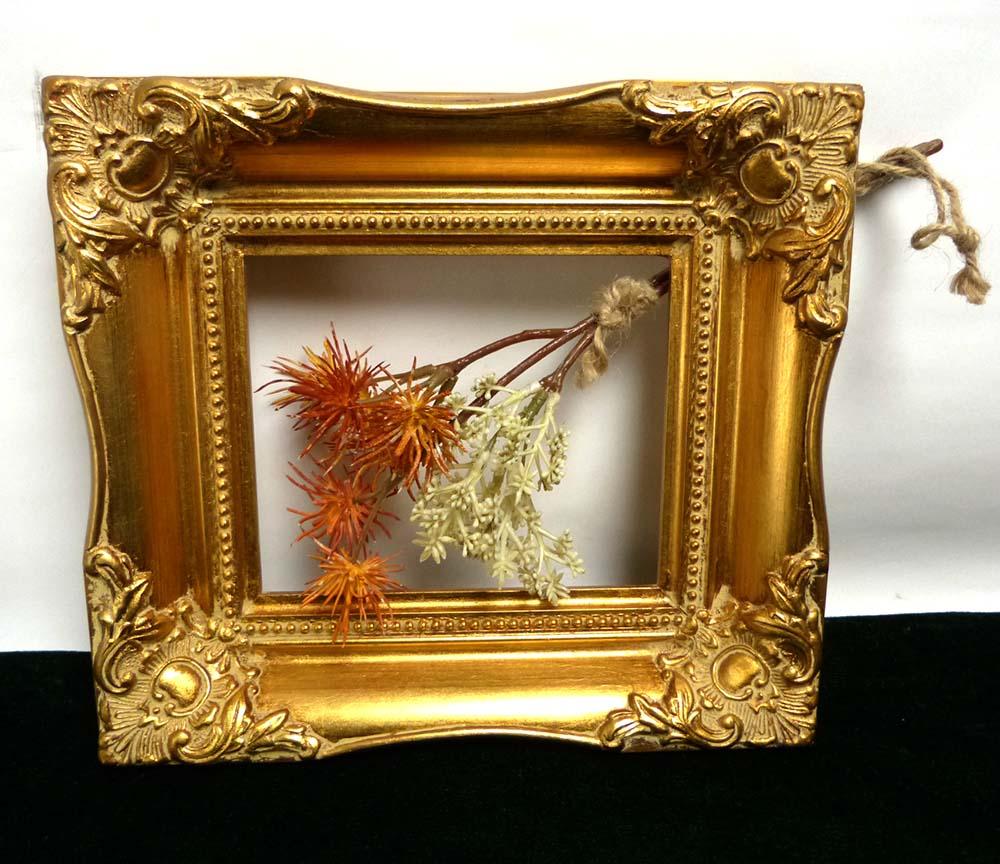 レトロ ヴィンテージ オールド シャビーな金縁装飾額縁 / 油彩額縁(12.7×15.2cm)【中古】