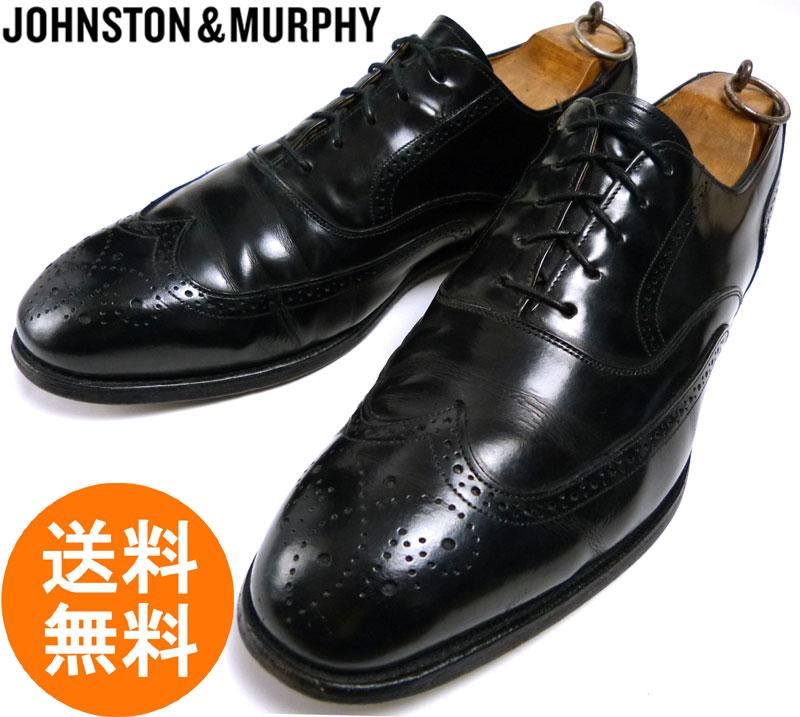 ジョンストンアンドマーフィー JOHNSTON&MURPHY OPTIMA ウィングチップシューズ 10D/B(27.5〜28cm相当)(黒 ブラック)【中古】