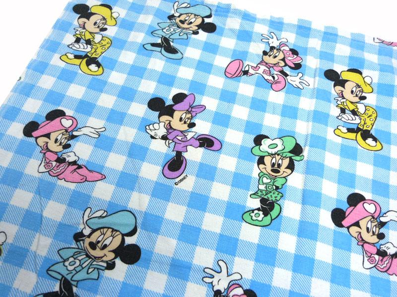 ディズニー ミニーマウス キャラクター ビンテージ フラットシーツ(179×122cm)【中古】【リメイク生地】