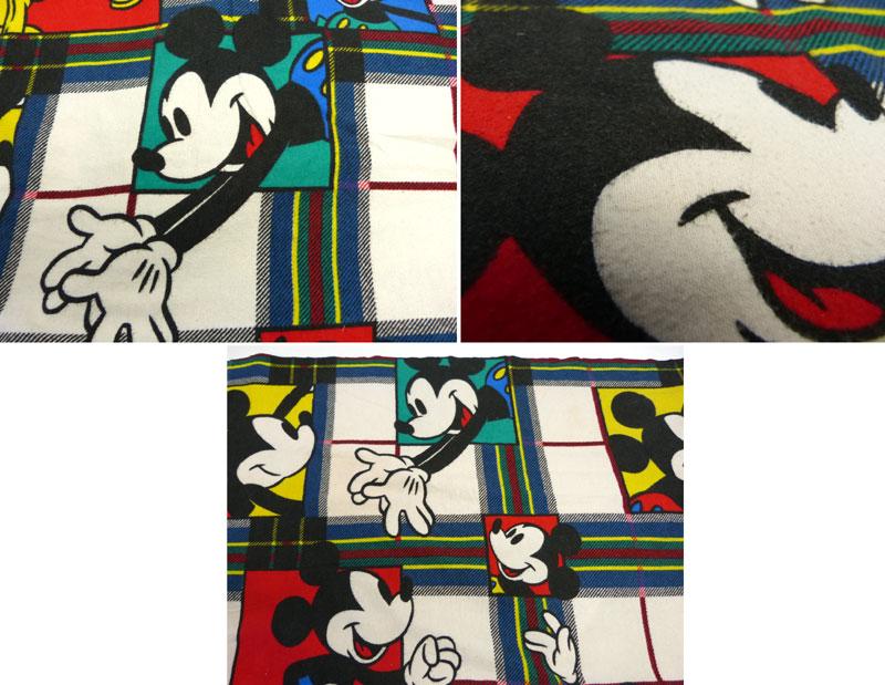 ディズニー ミッキーマウス ビンテージ フラットシーツ(110×168cm)【中古】【リメイク生地】