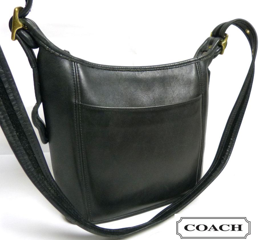 USA製 オールドコーチ 本革レザー ショルダーバッグ OLD COACH (黒/ブラック)【中古】【送料無料】