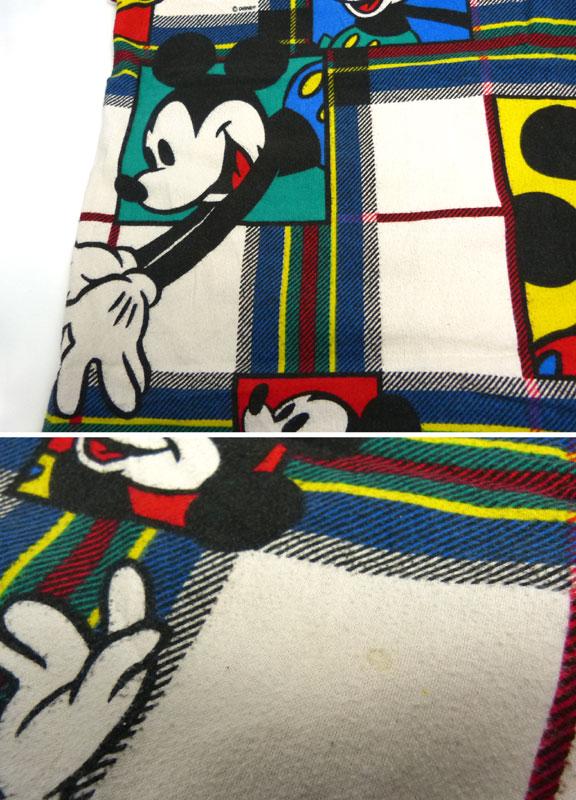 ディズニー ミッキーマウス ビンテージ フラットシーツ(118×164cm)【中古】【リメイク生地】