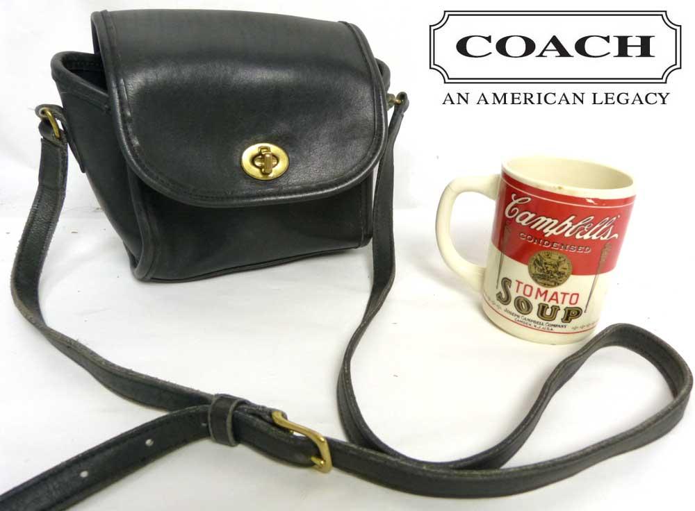 USA製 オールドコーチ OLDCOACH ターンロック ミニショルダーバッグ (黒)【中古】【送料無料】