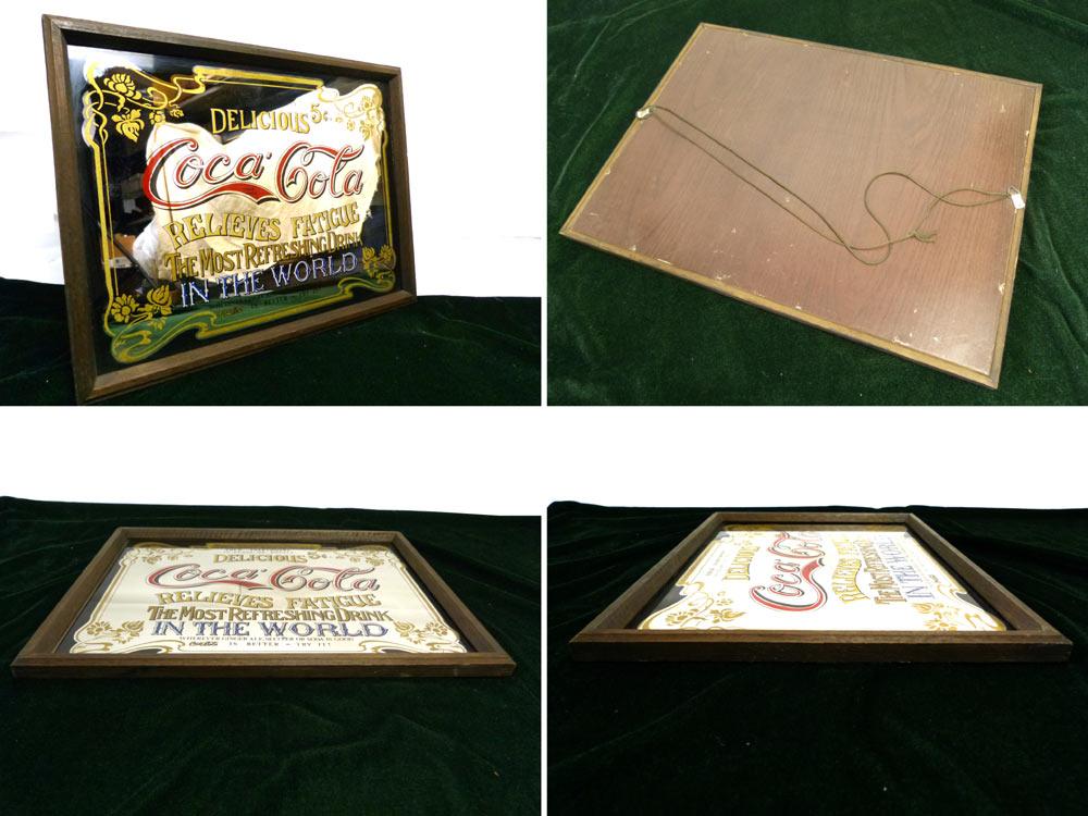 【希少】コカコーラ CocaCola 壁掛けパブミラー ビンテージ / ウッドフレーム【中古】【送料無料】